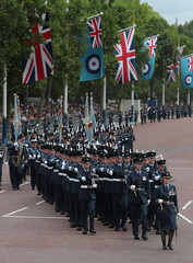 Members of the RAF Regiment march along the Mall ahead of a flypast to mark the centenary of the Royal Air Force, in central London