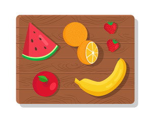 Fruit Summer Picnic Collection Vector Illustration
