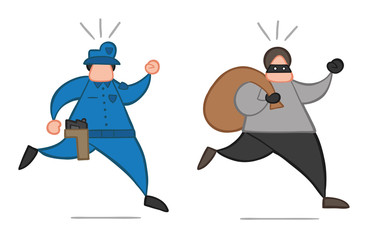 Vector cartoon thief man with face masked running away from police and carrying sack