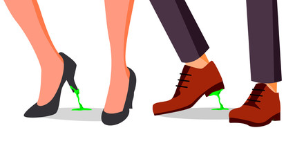 Business Trouble Concept Vector. Feet Stuck. Businessman, Woman Shoe With Chewing Gum. Wrong Step, Decision. Cartoon Illustration