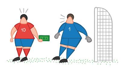 Vector cartoon soccer player man offering bribe to goalkeeper