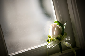 A beautiful boutonnière, a single fresh white rose bud, is poetically leaning against an old window pane with spider webs on a wooden frame.