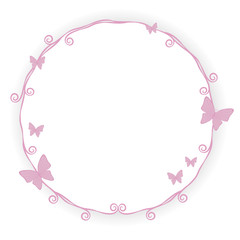 thin pink princess border frame stroke beauty with little pink butterfly curls spiral cute simple geometric circle with shadow objects isolated on white background