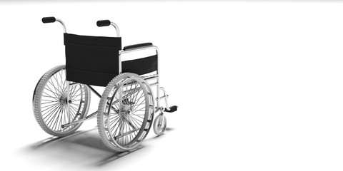 Wheelchair isolated on white background, copy space, view from behind. 3d illustration