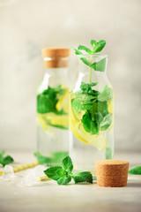 Citrus lemonade - mint, lemon and tropical monstera leaves on grey background. Detox drink. Summer fruit infused water. Copy space.