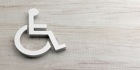 Wheelchair, disabled sign isolated on wooden background, copy space. 3d illustration