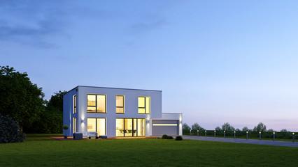 Moderne Villa 18 am Abend