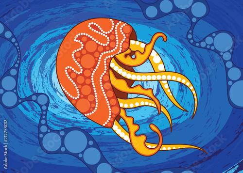 Aboriginal Art Vector Background Depicting Jellyfish Illustration