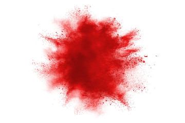 Freeze motion of red powder explosions isolated on white background.