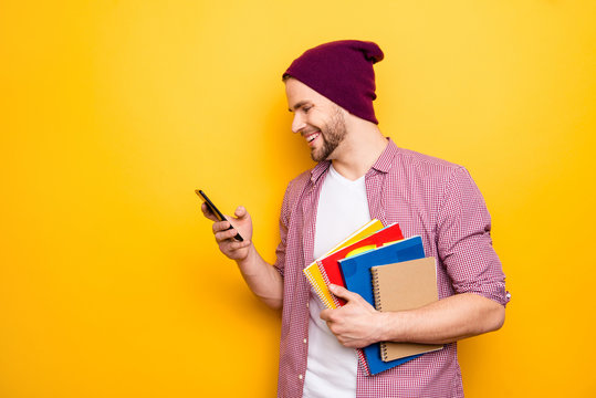Hug hold hands stylish swag cool lecture learn modern technology people person concept. Side portrait of handsome smart excited cheerful rejoicing teen age student using smartphone isolated background