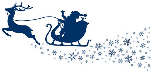 Dark Blue Christmas Sleigh & Snowflakes