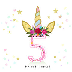 Fifth birtday. Five. Unicorn Birthday invitation. Party invitation greeting card