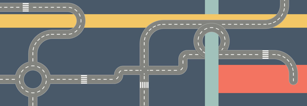 Modern Graphic Roadmaps Series Colorful art with Road pieces and Banners with Copy Space, Flat Design Banner