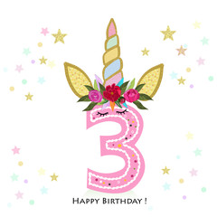 Third birtday. Three. Unicorn Birthday invitation. Party invitation greeting card