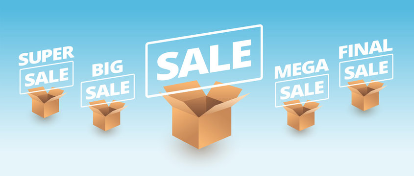 Sale banner delivery cardboard boxes icons - super sale, big, mega, final sale text vector