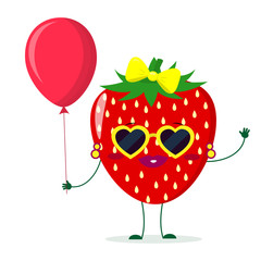 Cute Strawberry cartoon character sunglasses hearts, bow and earrings. Holds a red air balloon.