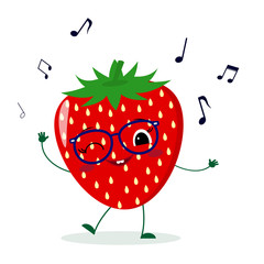 Cute Strawberry cartoon character in glasses dances to music.