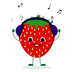 A cute Strawberry character in cartoon style listening to music on headphones.