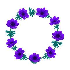 Violet flowers wreath. Beautiful blue anemones. Color pencil digital illustration. Collection of botanical design elements on white background. Design for invitation, wedding or greeting card