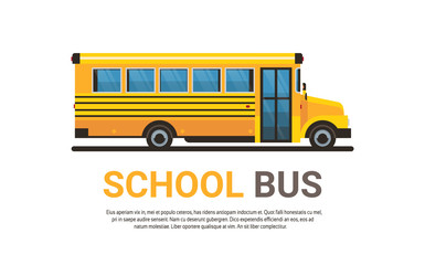yellow bus back to school pupils transport concept on white background flat copy space horizontal vector illustration