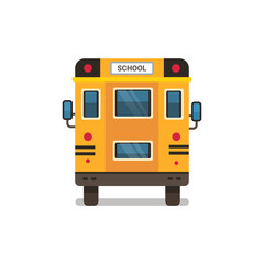 yellow school bus rear view pupils transport concept on white background flat horizontal vector illustration