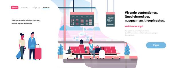 people waiting takeoff in airport hall departure lounge passengers terminal check interior flat banner copy space vector illustration
