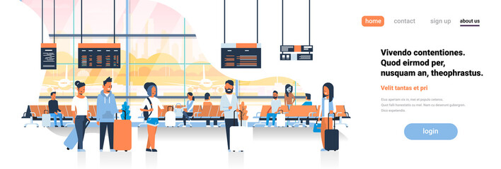 man woman waiting takeoff in airport hall departure lounge passengers terminal check interior flat banner copy space vector illustration