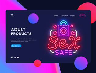 Sex Safe neon creative website template design. Vector illustration Sex Shop concept for website and mobile apps, business apps, marketing, neon banner. Night Adult Toys