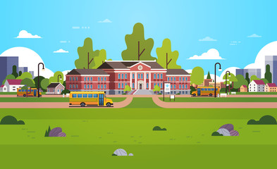 yellow bus in front of school building yard pupils transport concept 1 september cityscape background horizontal flat vector illustration