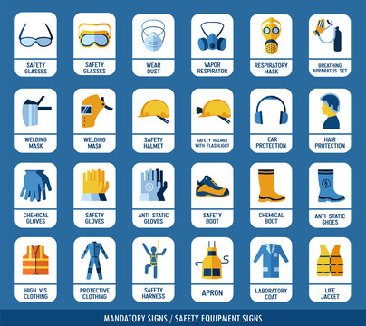 Collection of safety equipment. Set of safety and health protection signs. Mandatory construction and industry signs. Protection on work.