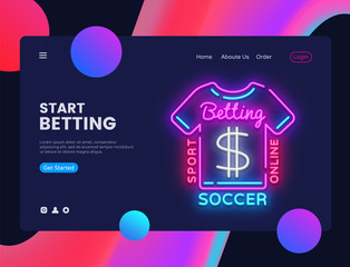 Betting Sport neon creative website template design. Vector illustration Betting Sport concept for website and mobile apps, business apps, marketing, neon banner. Online Betting