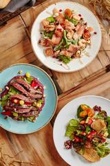 Salmon Salad, Steak Salad and Grilled Vegetable Salad