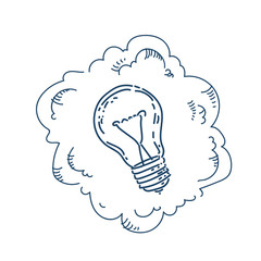 new idea light lamp business plan concept on white background sketch doodle vector illustration