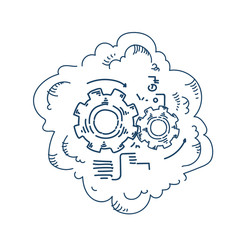gear wheel processing mechanism process strategy concept on white background sketch doodle vector illustration