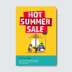 summer sale couple man woman sunset beach lettering badge design label season shopping for logo templates invitation greeting card prints and posters vertical vector illustration
