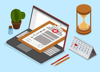 Doctor or pharmacist online service. Isometric illustration.