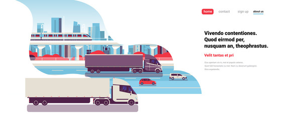 semi truck trailers driving highway road cars lorry over city background delivery cargo concept flat copy space horizontal vector illustration