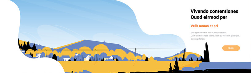 Mountain yellow landscape power lines horizontal banner flat copy space vector illustration