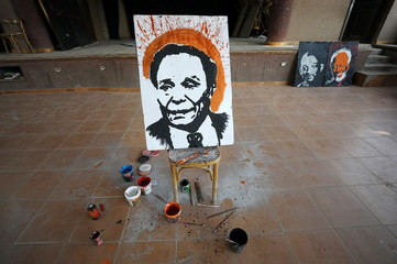 Egyptian speed painter Albert Magdy's finished portrait of Egyptian actor Adel Imam in Cairo