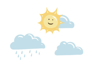 Weather vector cute icon set. Illustration with sun, cloud and rain for summer weather forecast. Flat hand-drawn symbols isolated on white background