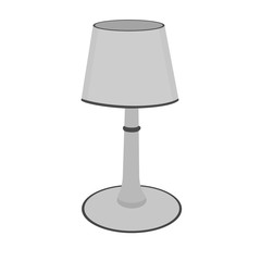 Modern gray table lamp device icon on white background