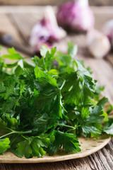 Fresh parsley in ceramic bowl