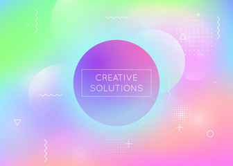 Holographic background with liquid shapes. Dynamic bauhaus gradient with memphis fluid elements. Graphic template for brochure, banner, wallpaper, mobile screen. Rainbow holographic background.