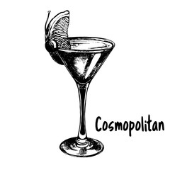 Hand drawn sketch style Cosmopolitan cocktail isolated on white background. Vector illustration.