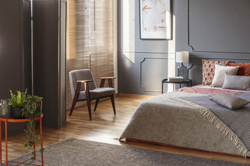 Modern grey bedroom interior