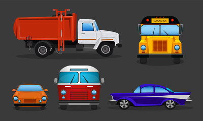 Vector set of cartoon cars - public transportation or private vehicles. School bus, garbage truck and sport automobile in side, front view. Colorful collection