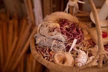 Various silk thread in a basket