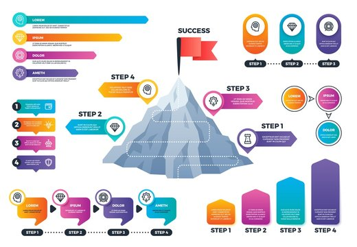 Steps to success infographics. Mountain graph with levels, achievement and mission business vector charts