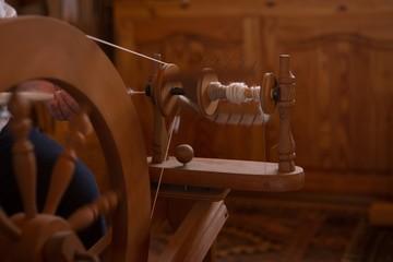 Weaving loom with silk thread at shop