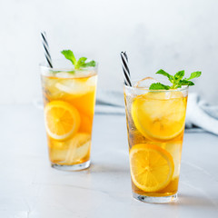 Lemon mint iced tea cocktail refreshing drink for summer days